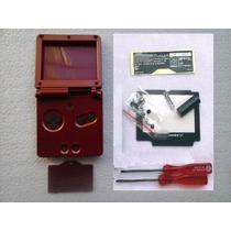 Carcaça Vermelh Gba + Chaves X E Y + Tela Proteção + Adesivo