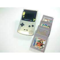 Game Boy Color Edição Pikachu\pokemon + 4 Jogos De Brinde