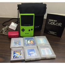 Gameboy Color Verde Kiwi Jogos Carregador Bolsa Manual Lindo