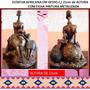 Estatueta Em Gesso-africana E Filha-pintura Metalizada