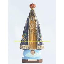 Escultura Nossa Senhora Aparecida Imagem 40cm Pintura Perola