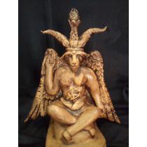Escultura Baphomet De Eliphas Levi - 25cm - Pinho/mogno