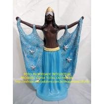 Escultura Orixa Iemanja Africana Rainha Mar Imagem 45x30cm