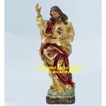 Escultura Jesus Cristo Sagrado Coração 30cm Imagem Barroca