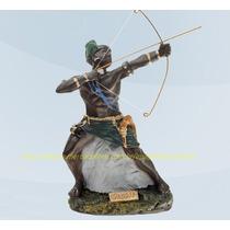 Escultura Orixa Africano Oxossi Linda Imagem 23cm Fabrica