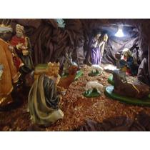 Presépio De Natal Em Gesso 30cm 14 Peças - Fino Acabamento