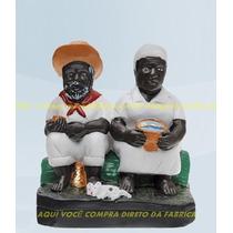 Escultura Casal De Preto Velho E Preta Velha Imagem 20cm