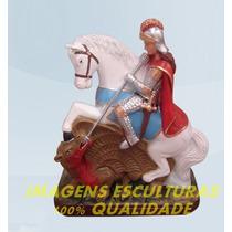 Escultura São Jorge Guerreiro Linda Imagem 30cm Frete Gratis