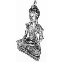 Estatua Imagem Buda Indiano Fem Escultura Cromada 35cm
