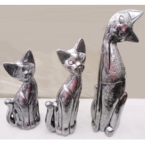 Enfeite Trio Gatos Decorativo Estatua Escultura 55 45 35cm