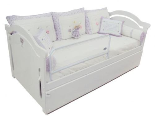 Grade prote o cama infantil com tela branca r 54 73 no - Camas para bebe ...