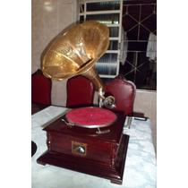 Gramofone A Corda +06 Discos Rotação 78+20 Agulhas (vitrola)