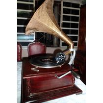 Gramofone Vitrola Rotação 78 +8 Discos Antigos+20agulhas