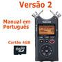 Gravador Digital Tascam Dr-40 Portátil Áudio Voz + Manual Pt