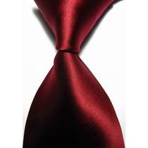 Gravata Seda Lisa Vermelho Escuro Feita A Mão Gvt 713