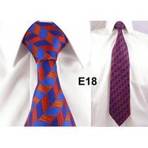 Gravata Executiva Vermelha E Azul 100% Seda Pura Linda - E18