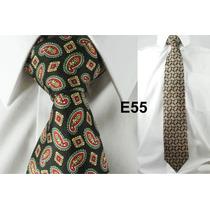 Gravata Vintage Verde 100% Seda Pura Estampa Chique E55