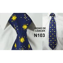 Gravata Retrô De Seda Pura Azul Tema Signo De Câncer - N103