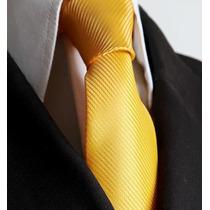 Gravata Amarela Listrada Semi Slim Sem Nó