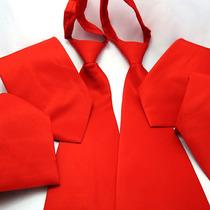 Gravata Vermelha Com Zíper - Casamento, Uniforme E Brinde
