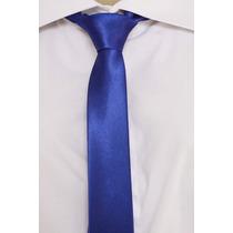 Gravata Slim Lisa Brilhante Cetim - Azul Royal