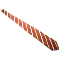 Gravata Mk Em Seda Vermelha Com Listras Amarela E Bege B0354