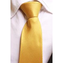 Gravata Semi Slim Trabalhada Semi Brilho Com Nó - Dourado