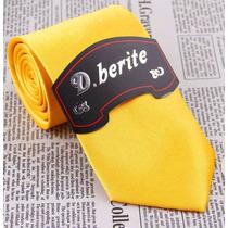 Gravata Seda Amarelo Ouro Padrinhos Gvt 2244 Slim 8 Cm