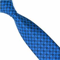 Gravata Azul Quadriculada 100% Seda Pura Padrinho Slim - E86