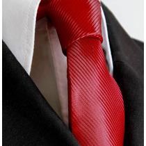 Gravata Vermelho Escuro Trabalhada Semi Slim Sem No