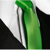 Gravata Slim Verde Florescente Lisa Com Brilho Sem Nó