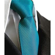 Gravata Azul Turquesa Trabalhada Listrada Semi Slim Com No