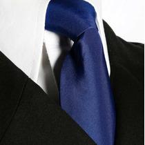Gravata Tradiciona Azul Royal Lisa Sem Nó