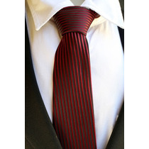 Gravata Semi Slim Trabalhada Listrada Sem Nó Vermelha Bordô