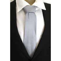 Gravata Semi Slim Trabalhada Quadriculada Sem Nó Prata