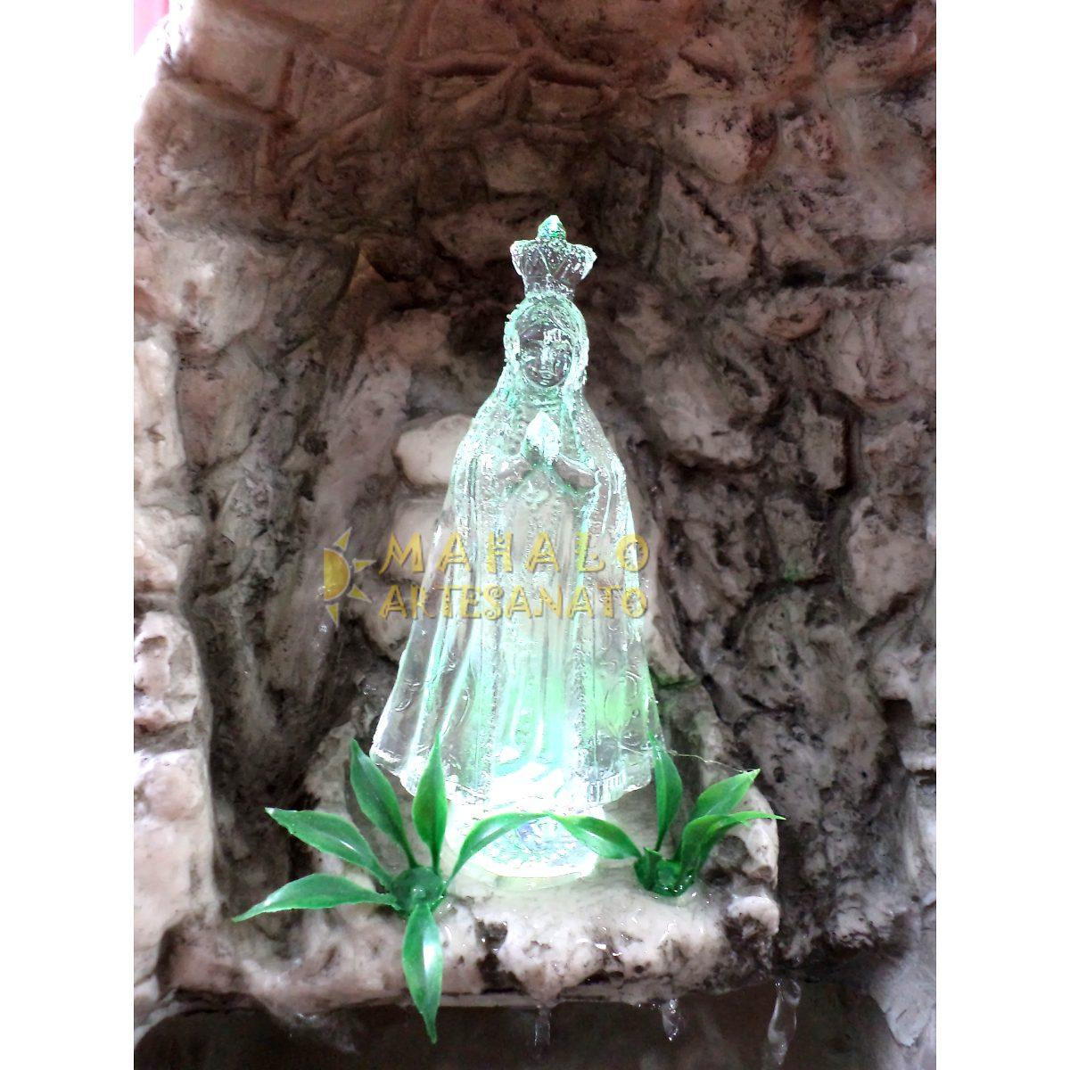 gruta de pedra para jardim : gruta de pedra para jardim:Gruta Água Nossa Senhora Aparecida Resina Cascata Luzes Led – R$ 128