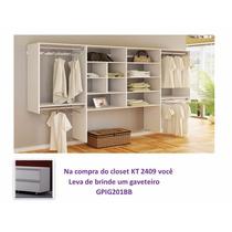 Closet Kt2409 + Gaveteiro De Brinde Branco - Super Closets