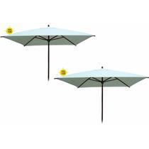 Kit 2 Ombrelones Sombreiro Guarda Sol Quadrado 2,25 Metros