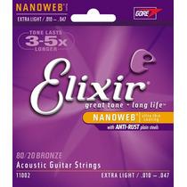 Encordoamento Elixir .010 Cordas Para Violão Nanoweb 11002