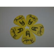 Palhetas Fender Amarela - Kit Com 10 Unid. - Frete Gratis