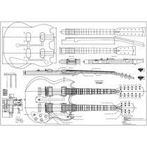 Planta Guitarra Sg Doubleneck Impressão Tamanho Real