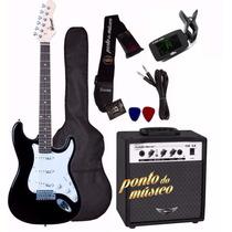Kit Guitarra Winner Wgs Strato + Cubo Amp Steel 15w L O J A