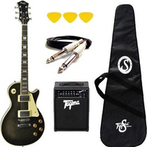 Kit De Guitarra Memphis Mlp100 Pretatransparente +acessórios