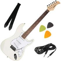Guitarra Elétrica Strato Com Alavanca Correia Palhetas Cabo