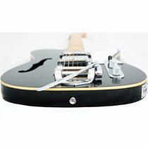 Guitarra Gbspro Tele Semi-acustica Preta Bigsby + Capa+frete