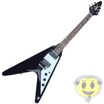 Guitarra Flying V Dolphin Dgf-03 Preta Oferta Loja Kadu Som
