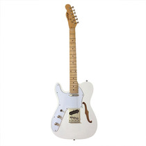 Guitarra Gbspro Telecaster Semi-acustica Canhoto - Branco...