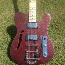 Guitarra Gbspro Telecaster Semi-acustica - Vermelho Spark