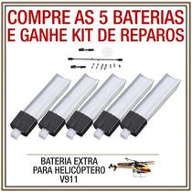 Kit 5 Baterias Mini Helicóptero V911 200mah Ganhe Kit Reparo