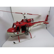 Helicoptero Decorativo Metal 1962 Red White Bell Plane